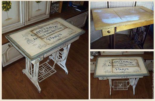 стол под швейную машинку,реставрация,грунтовка,роспись,патина,состаривание  10000