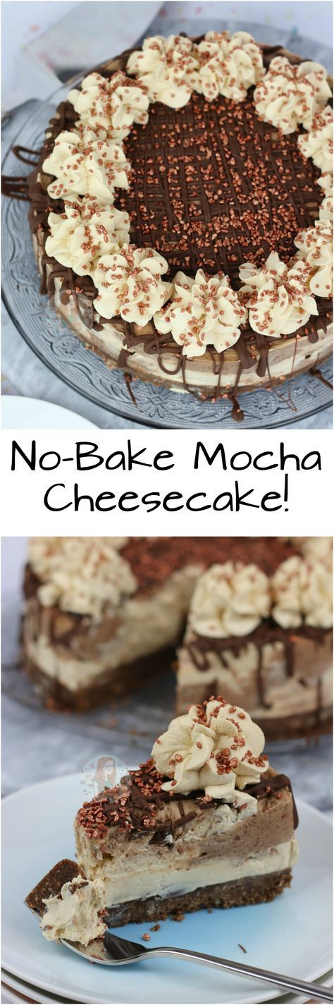 No-Bake Mocha Cheesecake!! A No-Bake Chocolate Buttery Biscuit Base, with a swirled No-Bake Coffee and Chocolate Cheesecake filling, with a Chocolate Drizzle, and Coffee Whipped Cream – Heavenly Mocha Cheesecake!