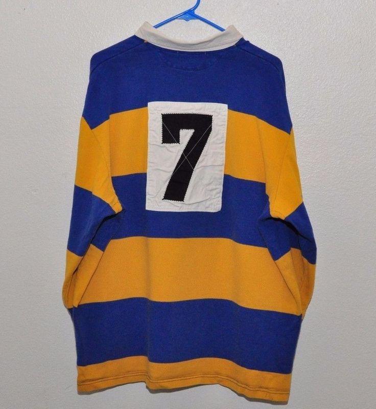 Vintage Valiant Rugby Shirt In Ultramarine Gold: Vintage Polo Sport Ralph Lauren Blue Yellow Stripe LS Polo