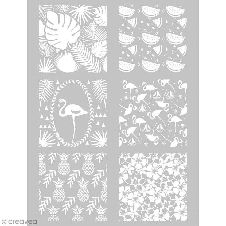Compra nuestros productos a precios mini Plantilla para impresión de diseños sobre la pasta polímera - Tropical - 11,4 x 15,3 cm - Entrega rápida, gratuita a partir de 89 € !