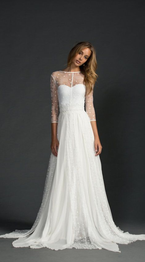 Sheer sleeves gorgeous flowy wedding gown with illusion