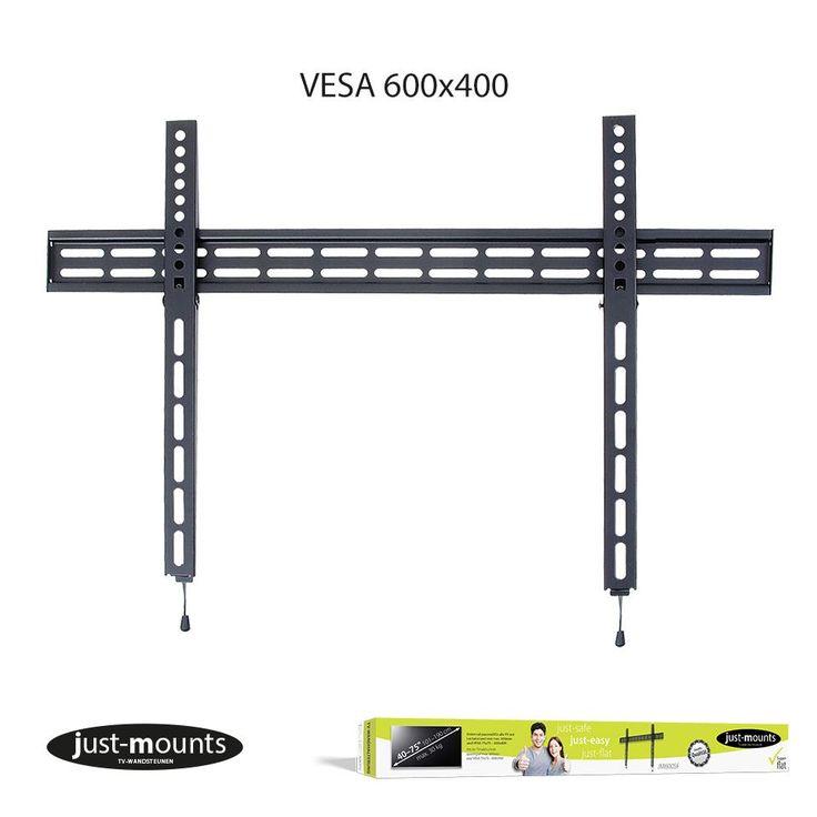 """Just Mounts JM-600SF Flat panel  Description: Just-Mounts JM600SF: vaste muurbeugel met safe click De Just-Mounts JM600SF muurbeugel heeft een handig safe click mechanisme. Hang je televisie met de JM600SF zo dicht en vlak mogelijk tegen de wand op. De JM600SF is een muurbeugel die geschikt is voor TV's met grotere inch maten van 40""""tot 75"""" die plat aan de wand gemonteerd wordt. Muurbeugel Schermformaten: 40"""" tot 75"""" / 101 - 190 cm Maximaal schermgewicht: 30 kg Montage bevestiging: VESA norm…"""