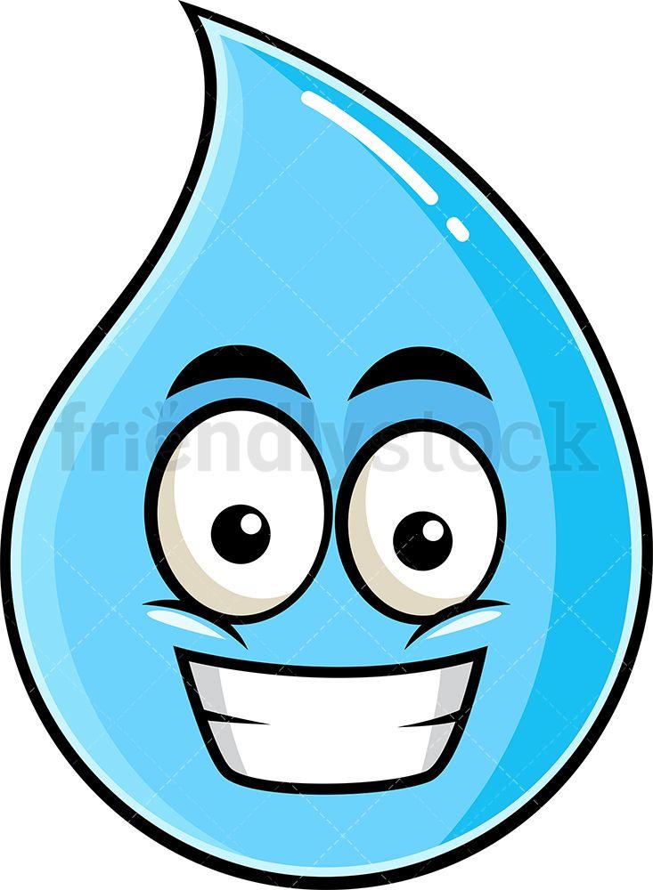 Grinning Raindrop Emoji Cartoon Clipart Vector Friendlystock Emoji Clipart Cartoon Clip Art Emoji