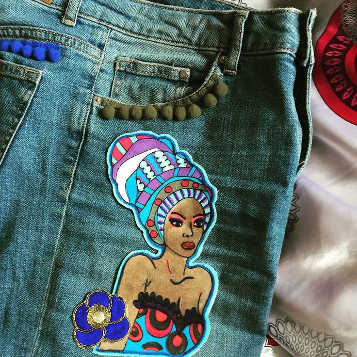 #Boneca jeans luxury personalizzato - dipinto a mano #Boneca design -pezzi unici #denim