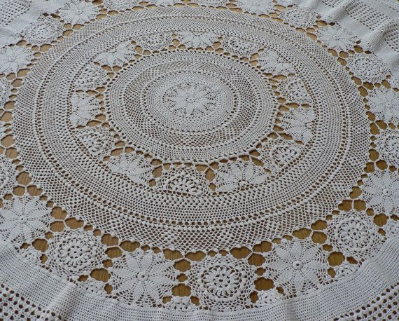 Vintage white crochet tablecloth circular by fitzroyandcole, $48.00