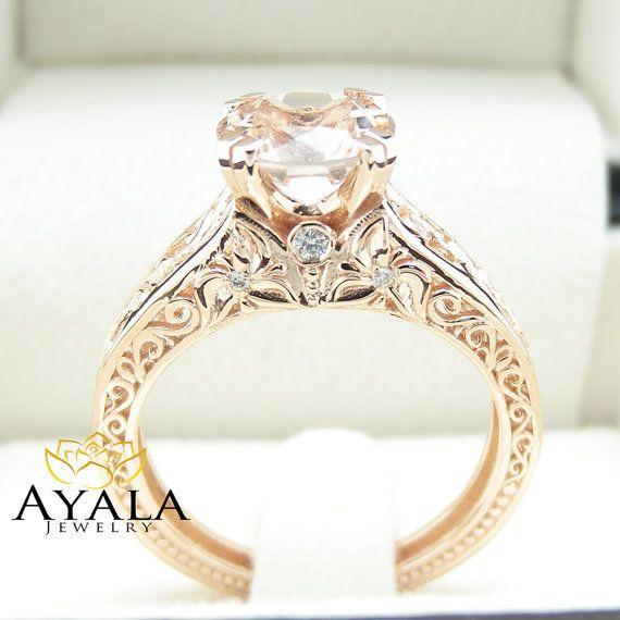 Vintage Engagement Ring 14K Rose Gold Morganite by AyalaDiamonds
