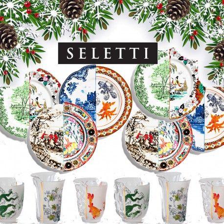 Arreda la tua tavola di Natale con Seletti Hybrid un'idea regalo originale e creativa composta da: 2 Piatto Piano Isaura, 2 Piatto Piano Ipazia, 2Piatto Piano Eusapia e 2 Set 3 Bicchieri Aglaura.