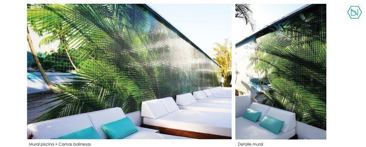 www.bn-arquitectos.com  Mural tropical Piscina. Reforma Hotel Vanilla Garden.Tenerife Tropical Wall. Pool. Refurbishment Hotel Vanilla Garden. Tenerife #Hotel #refurbishment #reforma #arquitectos #interiorismo #diseñodeinteriores #palmeras #tropical #pool #design #interiordesign