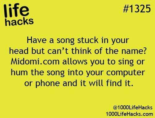 Have a song stuck in your head, but can't think of the name? Midomi.com allows you to sing or hum the song into your computer or phone and it will find it.