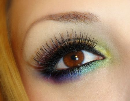 Rainbow eye makeup. This is so beautiful; I've never seen anything like it before. The girl who originally posted this has a lot of unique looks.