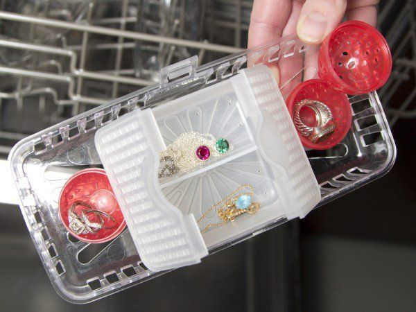 This Jewelry Steam Cleaner, discovered by The Grommet, lets your dishwasher do the dirty work. Just pop your jewelry in the basket and place in the dishwasher.