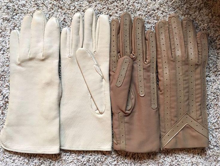 Vintage Gloves Lot of 2 Fownes Neutral Tone Beige Cream Off-White    eBay