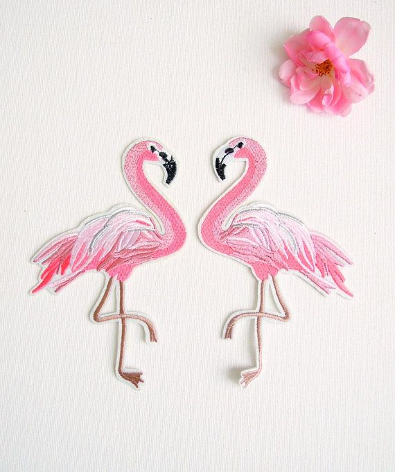 Large Pink Flamingo iron on patches set of 2 - Iron on flamingo patches - Iron on appliques pink flamingos - Tropical iron sew on patches