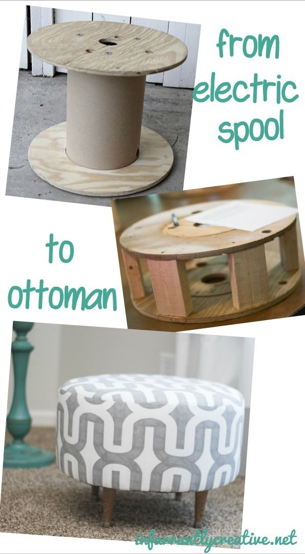 Turn an electrical spool into a beautifully upholstered round ottoman! Great tutorial for home decor.