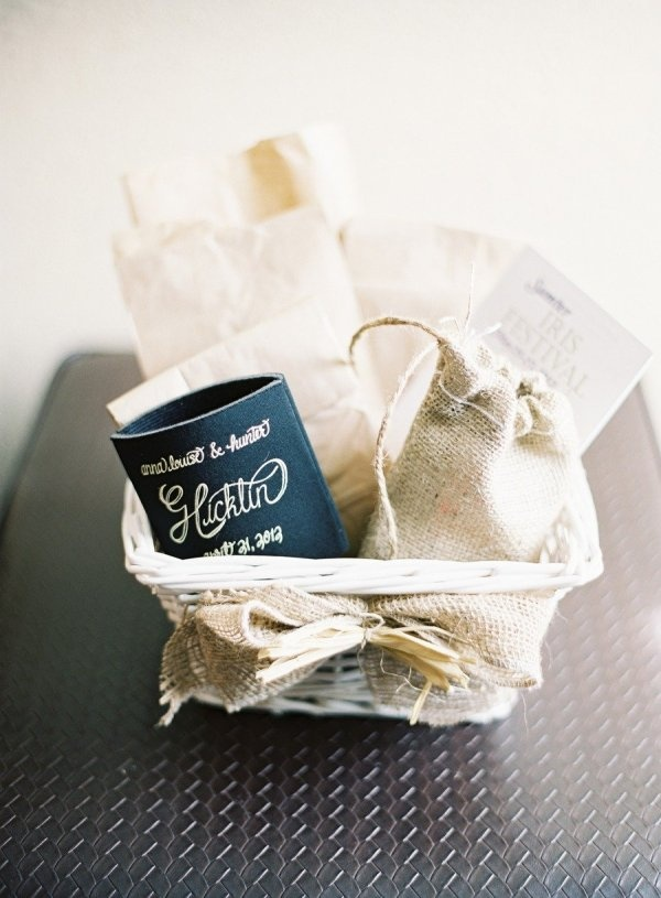 an adorable welcome basket for guests, drink koozie and all  Photography by virgilbunao.com