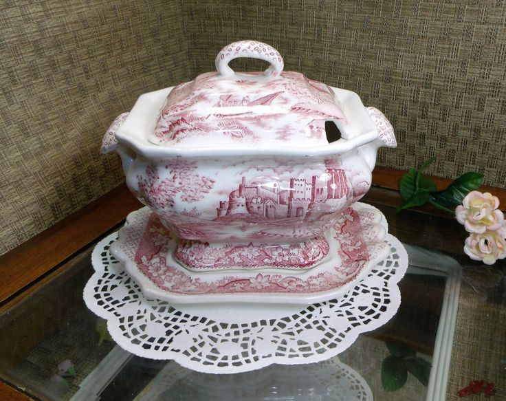 3 pc Vintage Japanese Tureen Red/Pink w/ CASTLES BOATS FLOWERS ~ Red and Pink Transferware Tureen, Lid & Underplate ~ Made In Japan ~ Lovely by EclecticJewells on Etsy
