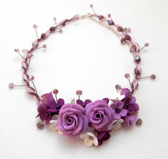 Purple necklace Statement necklace Flower by insoujewelry, $80.00