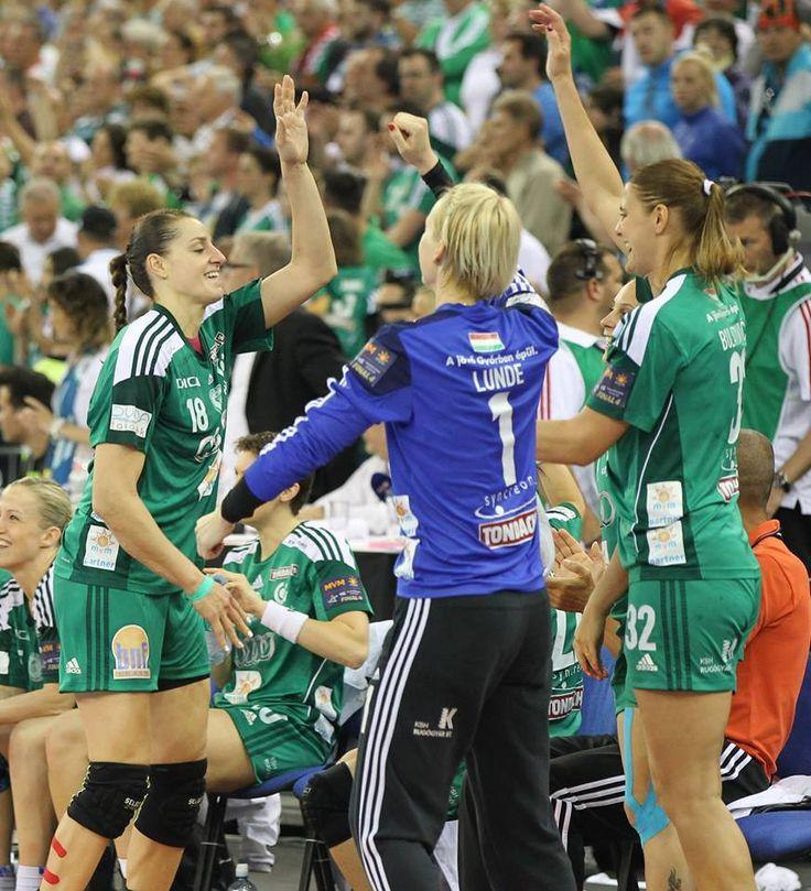The Győri Audi ETO won the Women's EHF Champion League 2014. Happy moments with Katrine Lunde, Eduarda Amorim and Katarina Bulatovic