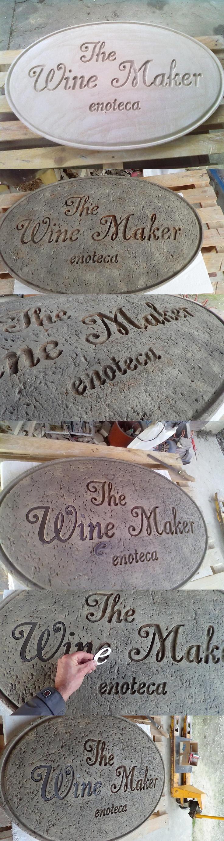 Targa in pietra per enoteca realizzata interamente a mano con lettere in acciaio intagliate a laser.  www.guidoborgonovo.it