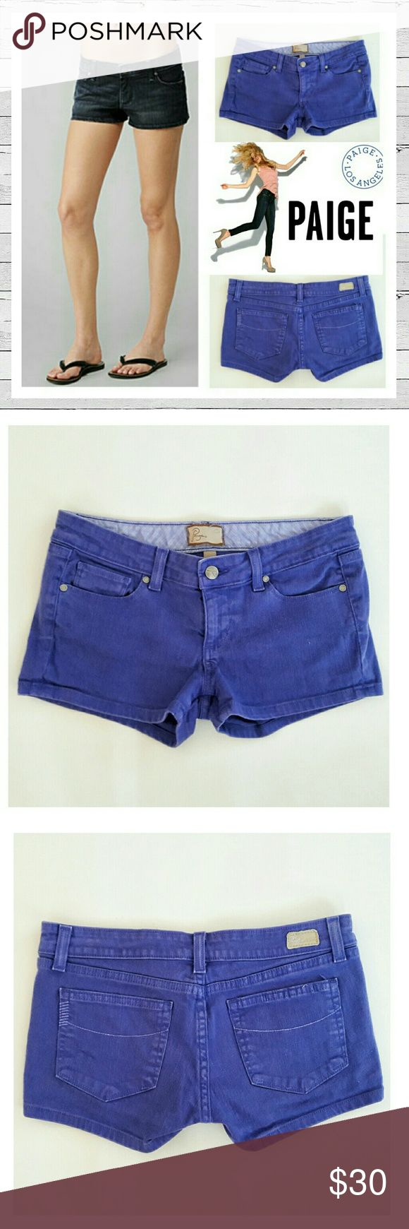 Paige Canyon Short In Purple Sz 27 Paige Premium Denim Canyon shory in purple!! Excellent previously loved condition. Sz 27. Bundle and save! Sorry no trades. Paige Jeans Shorts Jean Shorts