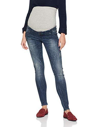 MAMALICIOUS Damen Mlholly Slim Blue Cutline Jeans A Umstandshose