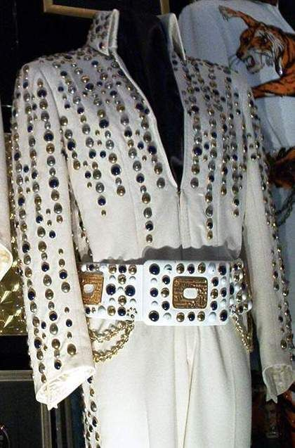 The 1973 Nashville suit and his original belt are now in display at Graceland.