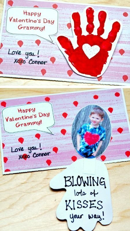 DIY Handprint Valentine's Day Card ~ Blowing Kiss Your Way… Perfect idea f…