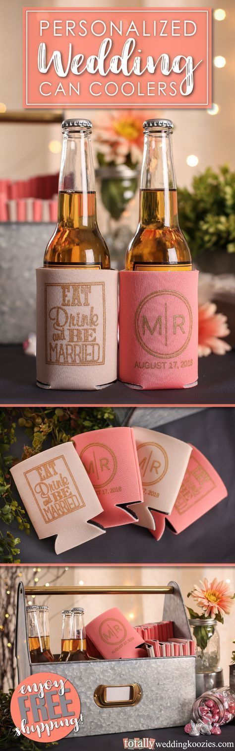 Our personalized wedding can coolers offer a unique, yet fun way to thank your guests! Select from over 1,000 design options, 45 product colors and 25 imprint colors. Use our state-of-the-art Design Ideas tool to uniquely showcase your name, wedding date or message on these re-usable can coolers! Use coupon code PINFREESHIP and receive FREE Ground Shipping in the Continental United States! Code is not valid with other coupon codes and is valid through April 4, 2017!