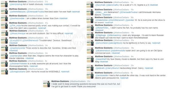 Tweets from Matt's Live twitter chat 2 of 2