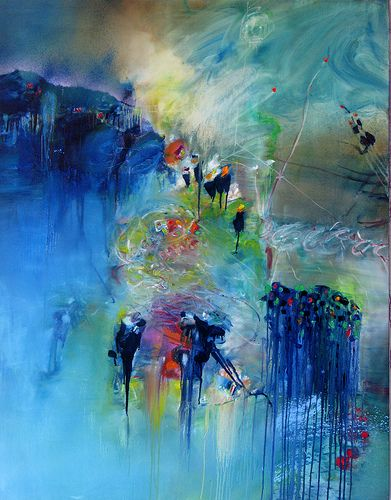 Down the road (by stricher gerard) Abstract painting