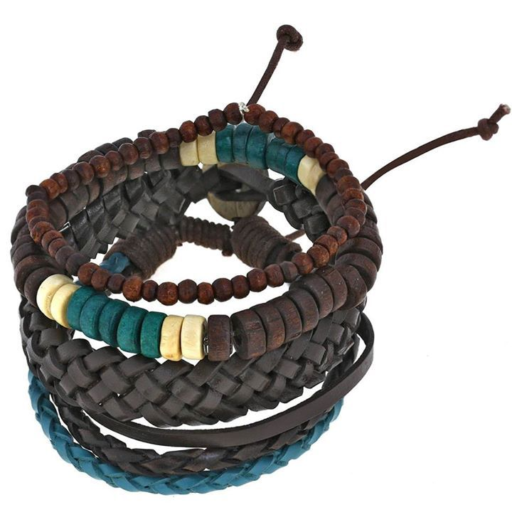 Mens Bracelet Costume Jewelry Unique Gifts..  TRENDY LOOK Turquoise and Brown bead bracelet for men is a layered wrap design, one of the hottest jewelry trends COOL, EDGY DESIGN Spike bracelet accents give it a rock star quality ARTISAN CRAFTED Our handmade bracelets are made from the finest of materials in India PERFECTLY ADJUSTABLE SIZE Stacked bracelet is to suit all men GREAT GIFT FOR HIM Leather bracelet comes in a jute bag ready for wrapping & bag is ideal for storing