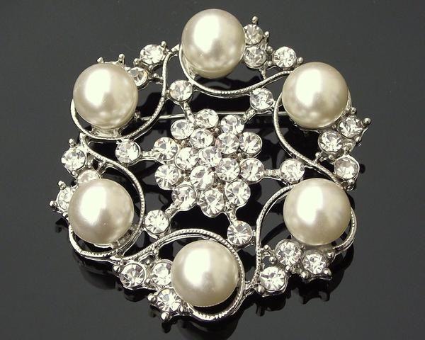 Wedding Brooches - Vintage Style Pearl Brooch, Nadia