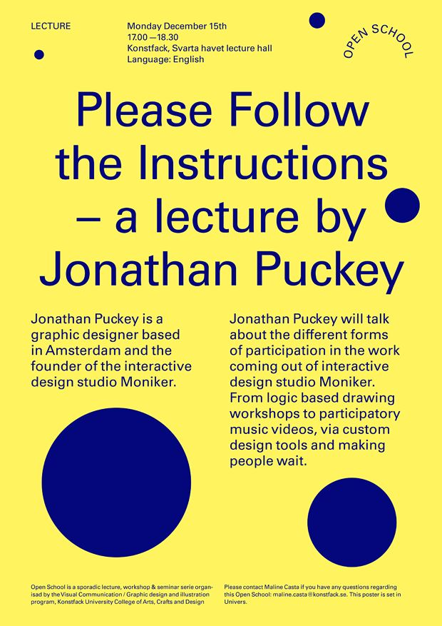 Open School: Please Follow the Instructions - a lecture by Jonathan Puckey - Konstfack