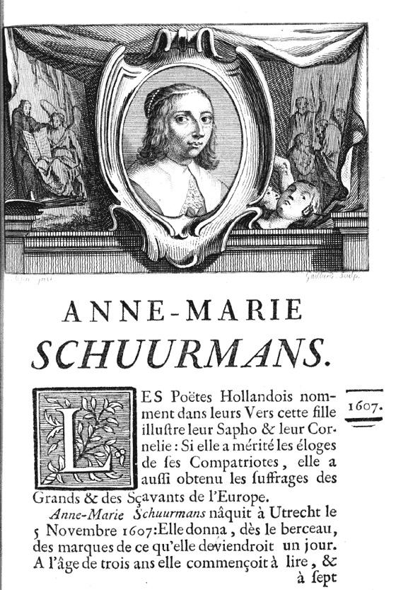 Anna Maria van Schurman in 1754. In een van de boeken met biografieën van schilders van Jean-Baptiste Descamps(Foto Wikimedia CC)
