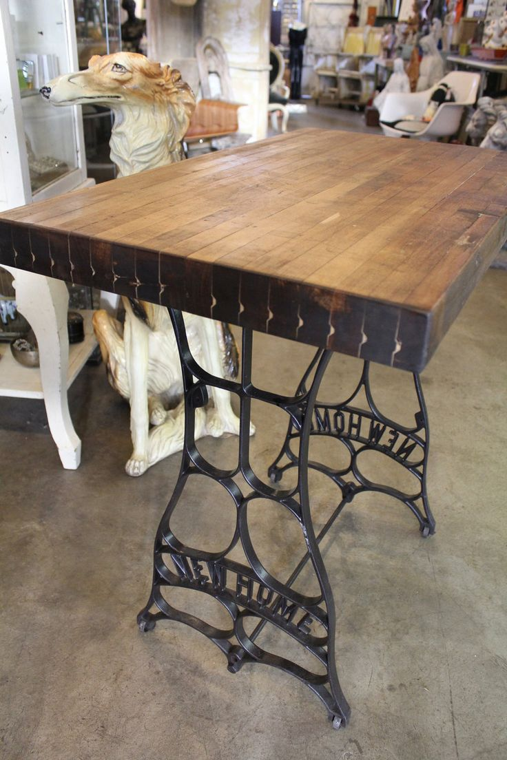 re purposed antique black iron pedestal with handsome butcher block demi size work table - Kitchen Table Sewing
