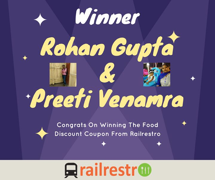 Congrats on Winning Food Coupons From Railrestro & Thanks everyone for participation. Winners can DM us their mail id's for coupons. #Foodintrain #FoodQuiz #Foodoholic #OnlineKhana #Railrestro