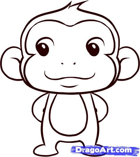 How to Draw a Simple Monkey, Step by Step, forest animals, Animals, FREE Online Drawing Tutorial, Added by Dawn, May 16, 2010, 3:54:43 pm
