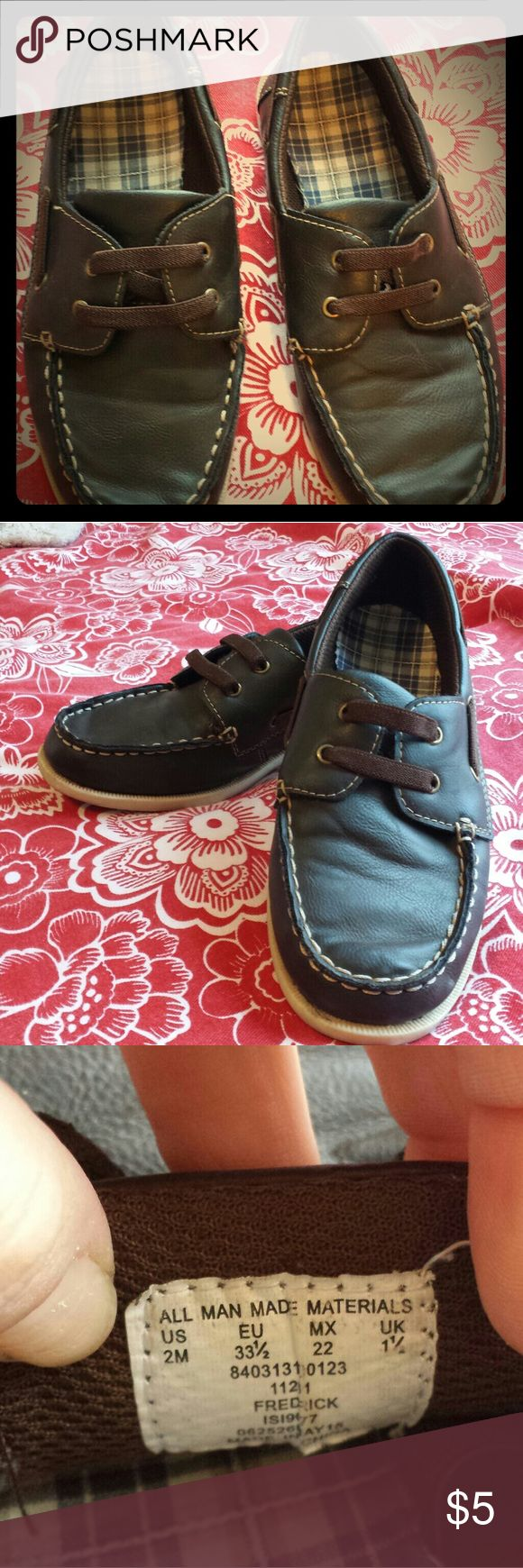 Boys size 2 loafer style shoes Used but not worn much. Cute slip on shoe. Great for summer semi-casual outfits. No laces, velcro, or buttons. Each piece listex separately.  Bundle and make an offer for savings! Route 66 Shoes Dress Shoes