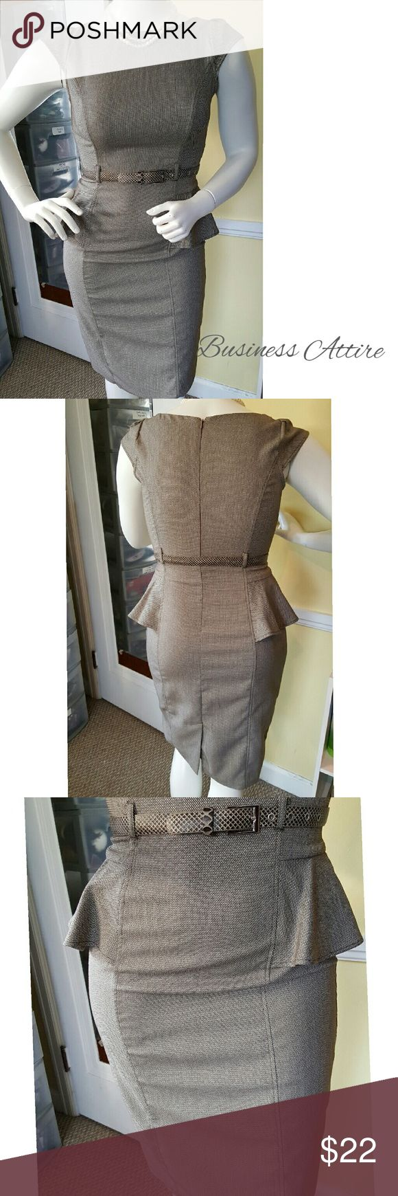 Belted peplum midi dress. Brown and beige textured belted peplum midi dress. This dress is very stylish while being very professional at the same time. Polyester/rayon/spandex mix material. Size 11/12. Worn twice,  excellent condition. No signs of wear or tear. XOXO Dresses Midi