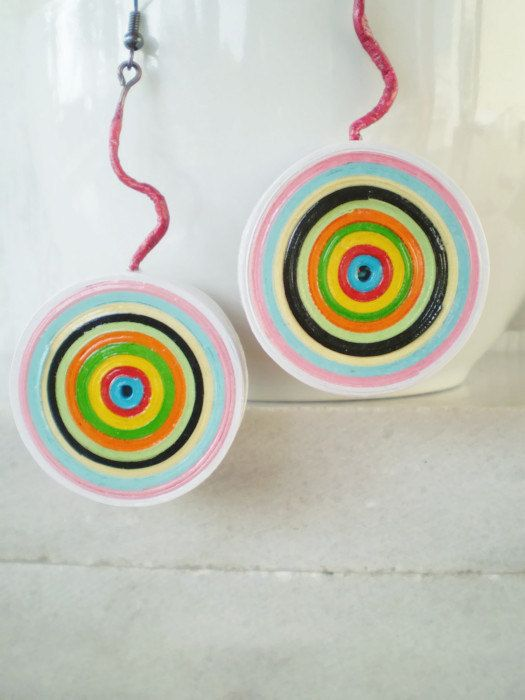 Summer Trend! Welcome to my shop!  Colorful Target Dangle Earrings Paper Jewelry Eco Friendly Large Statement Earrings Ready to Ship / Πολύχρωμα Χάρτινα Σκουλαρίκια  The idea here is jewelry made from paper only! Lots n lots of colorful crafting paper strips. Right on target! Bold, bright and unique. They are large but very light for their size and easy to wear. A summer time suggestion. Very well Varnished, up to 5 layers of high quality transparent polish applied. Sweat and splash proo...