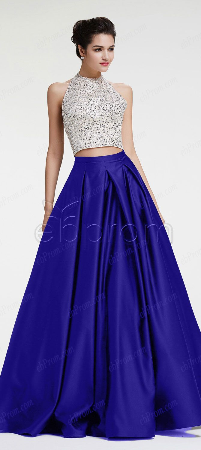 Royal blue beaded crystals prom dresses ball gown two piece prom dress long pageant dresses halter quinceanera dresses