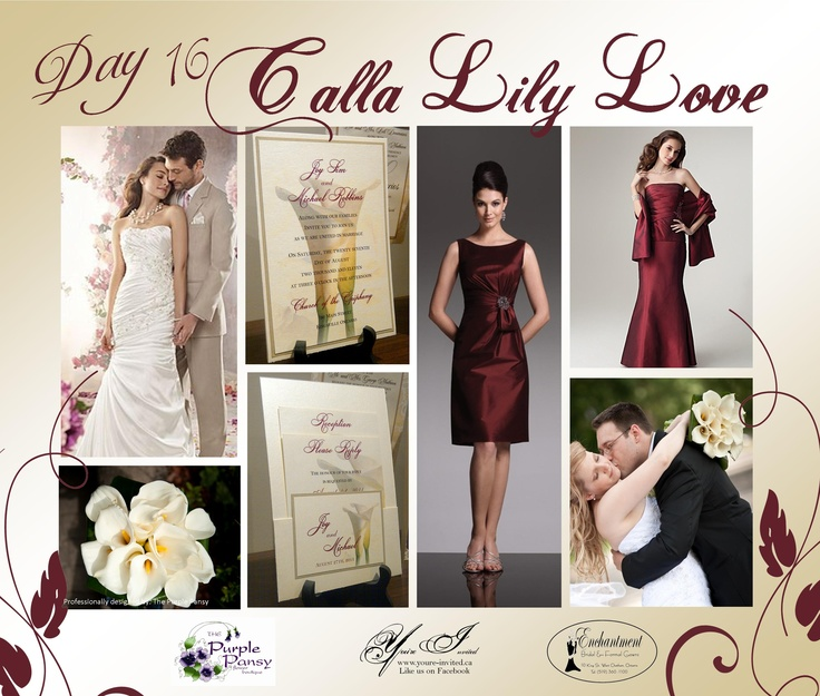 Day 16 Calla Lily Love, The Purple Pansy www.purplepansy.ca You're Invited www.youre-invited.ca Enchantment Bridal www.enchantmentbr... Picture of You're Invited Invitations Enchantment Bridal Dresses & The Purple Pansy Floral Arrangements
