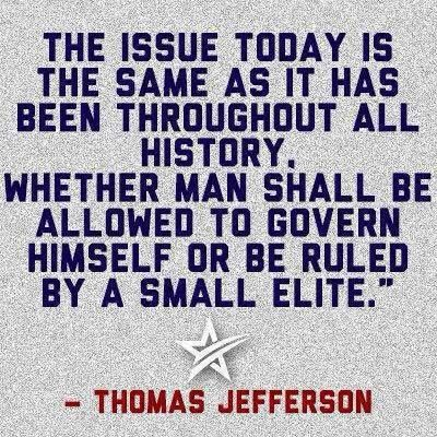 The issue today is the same as it has been throughout all history. Whether man shall be allowed to govern himself or be ruled by a small elite.  - http://www.sonsoflibertytees.com/patriotblog/issue-today-history-man-allowed-govern-ruled-small-elite/?utm_source=PN&utm_medium=Pinterest&utm_campaign=SNAP%2Bfrom%2BSons+of+Liberty+Tees%3A+A+Liberty+and+Patriot+Blog  www.SonsOfLibertyTees.com Liberty & Patriotic Threads  #DontTreadOnMe, #Freedom, #Libertarian, #Liberty, #Limit