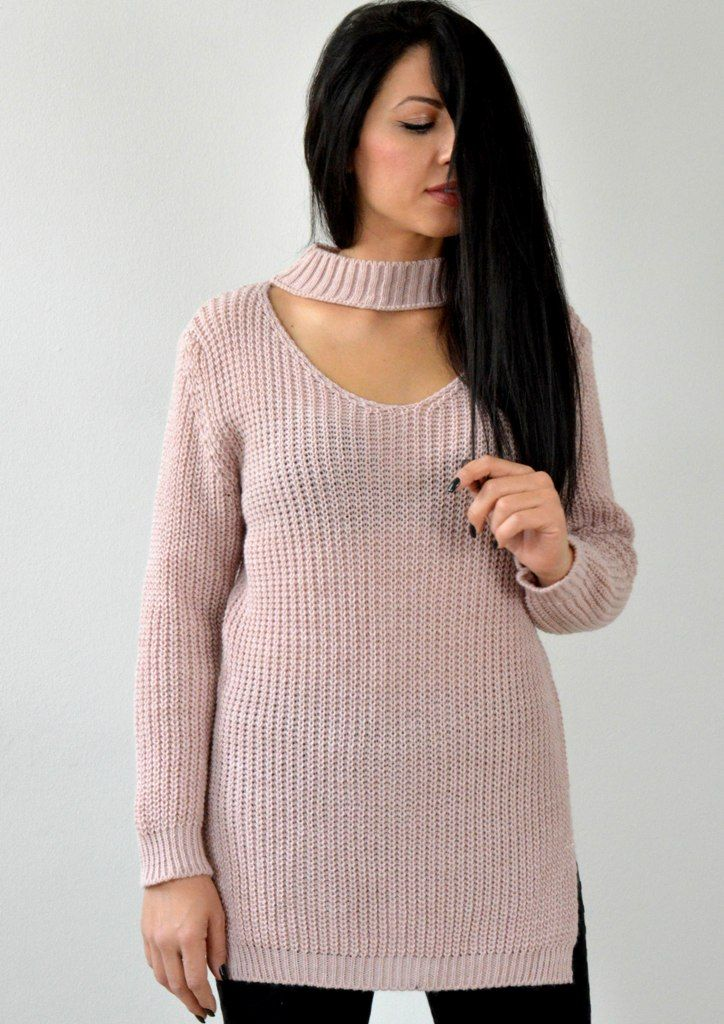 Μπλούζα Πλεκτή με Choker - ΡΟΖ | shop online: www.musitsa.com