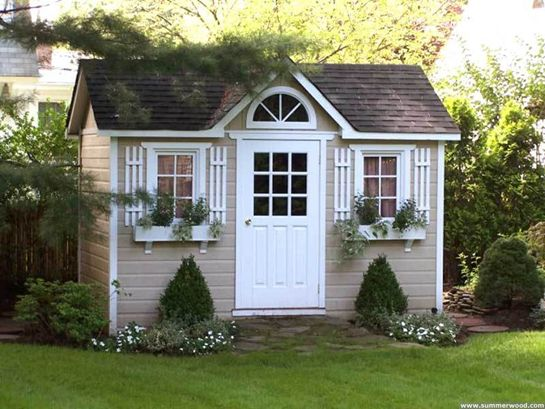 lots of cute sheds and landscaping ideas