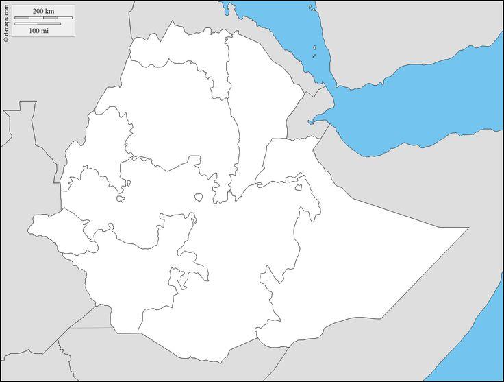 Ethiopie : carte géographique gratuite, carte géographique muette gratuite, carte vierge gratuite, fond de carte gratuit : frontières, régions