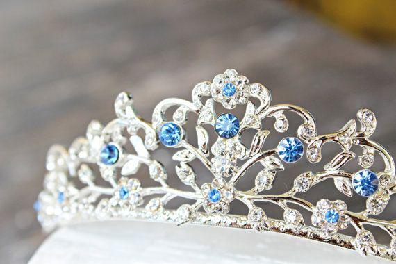 Something Blue Bridal Tiara Swarovski Crystal by EdenLuxeBridal