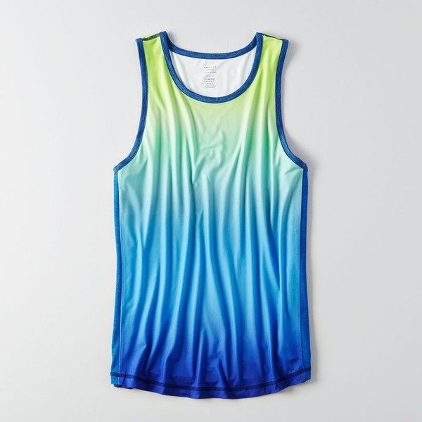 AE Active Tank Top ($20) ❤ liked on Polyvore featuring men's fashion, men's clothing, men's shirts, men's tank tops, green, mens classic fit shirts, mens sleeveless shirts, j crew mens shirts, mens green shirt and mens crew neck t shirts