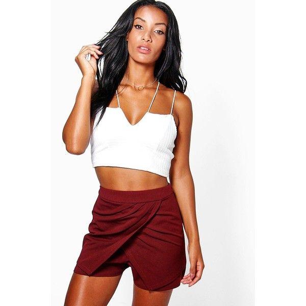 Boohoo Jonna Drape Detail Wrap Front Skort | Boohoo ($14) ❤ liked on Polyvore featuring berry, white skort, sport skort, white golf skirt and golf skirts
