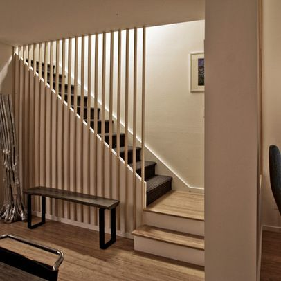 Alternative to stair rail. -Townhouse Renovation in San Diego